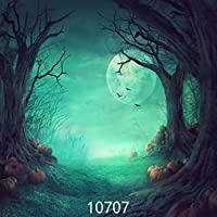 WOLADA 10x10ft Halloween Night Photography Backdrops Horror Forest Pumpkin Backdrop Vinyl Photo Background Studio Props 10707