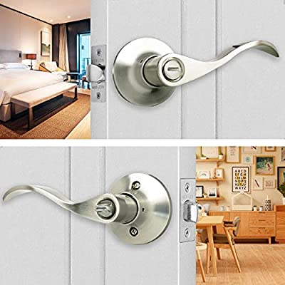 Satin Nickel Wave Door Lock Set Ideal for Bathroom//Bedroom Door Easy to Install Door Handle Hade Lion Privacy Door Lever Set