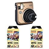 Fujifilm instax Mini 70 Instant Film Camera, 60mm f/12.7 Lens, Stardust Gold - with 2 Pack Instax Mini NYC Second Edition Instant Film, 10 Exposures