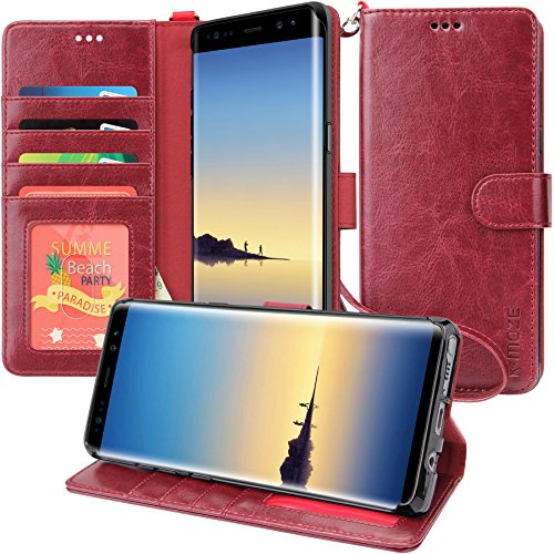 Galaxy Note 8 Case, K-Moze Galaxy Note 8 Wallet Case [4 Card Slots ] [Wrist Strap] [Stand Feature] PU Leather Flip Wallet Case Cover for Galaxy Note 8 - Wine Red