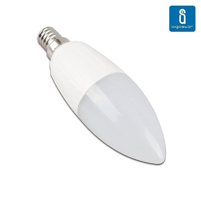 Aigostar -Pack de 10 bombillas led c37 vela, 9w equivalente a 70W ,casquillo delgado E14,no regulable , luz blanca 6400k ,720lm [Clase de eficiencia ...