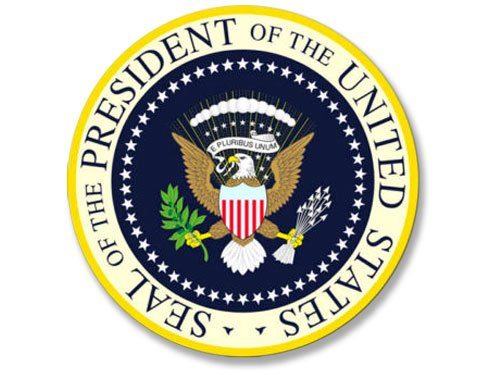 Seal Of The President of the United States Sticker (yellow blue presidential logo) (Seal Presidential)