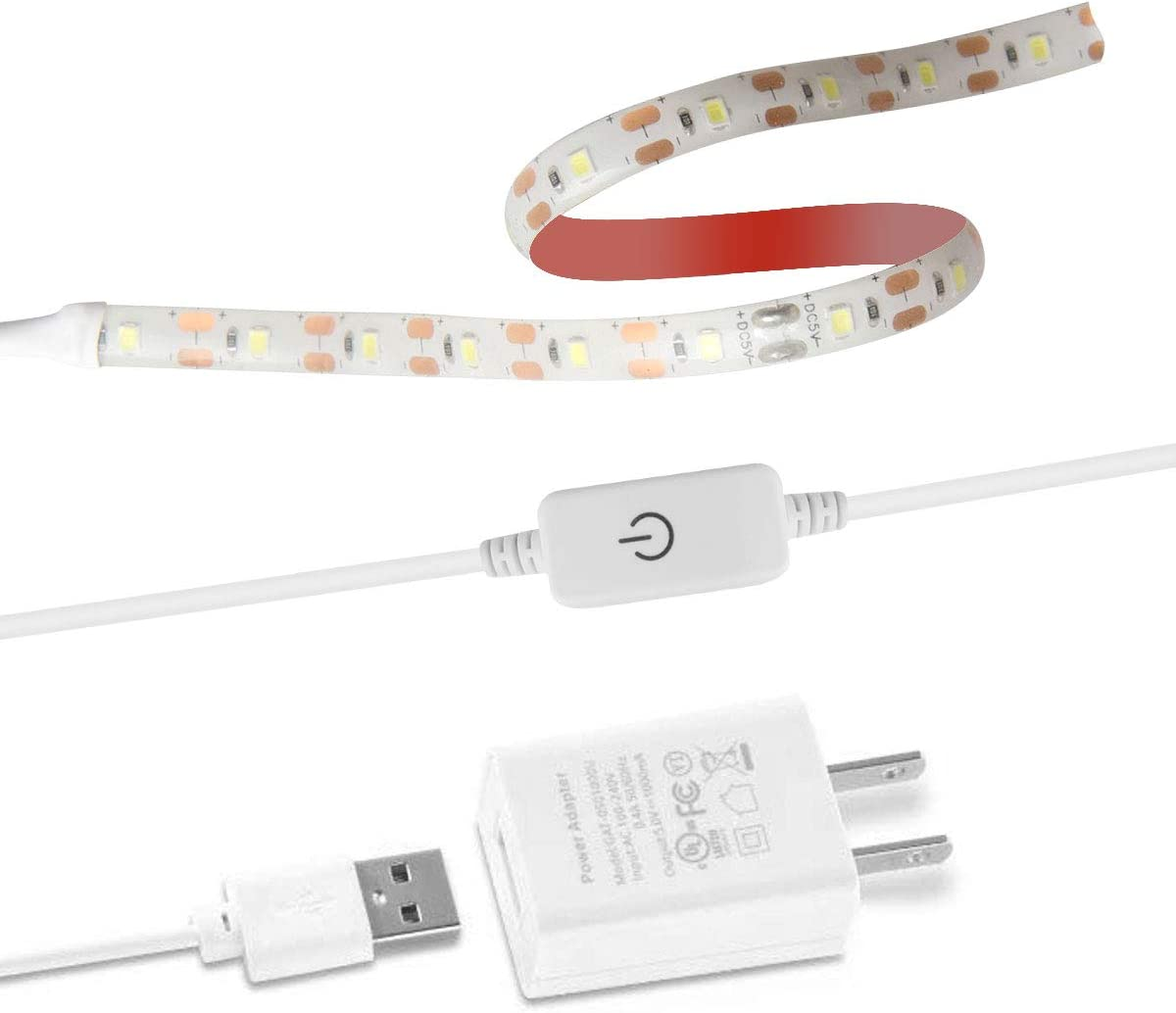 6.6 Foot Line with Touch Dimmer and USB Power Supply 5 Tape Clips Suitable for All Sewing Machines Sewing Machine LED Light Cool White with 3M Tape