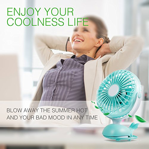 Battery Operated Clip Fan Stroller Fan for Baby Portable Silent USB Fan Mini Personal Desk Fan Cute Design Rechargeable Battery Fans Adjustable Tilt Quiet Operation for Treadmill Dorm Bed Tent Camp by Aikmi (Image #2)