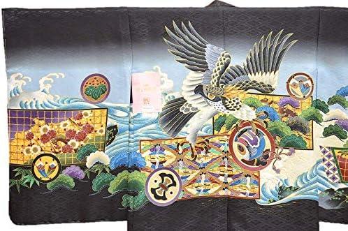 【特価品】男の子 七五三 アンサンブル 袴 セット 黒 鷹柄 5歳用 ngs-ansanburu-015