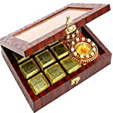Ghasitaram Gifts Diwali Gifts Diwali Hamper- Lazer Orange Wooden Jewellery Chocolates and 2 T-lites Box