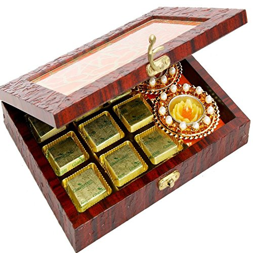 Ghasitaram Gifts Diwali Gifts Diwali Hamper- Lazer Orange Wooden Jewellery Chocolates and 2 T-lites Box by Ghasitaram Gifts