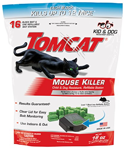 Tomcat Mouse Killer Refillable Station, Includes 1 Bait Station with 16, 1-oz. Baits - Child & Dog Resistant - Use Indoors & Outdoors to Kill Mice (Best Rat Killer On The Market)