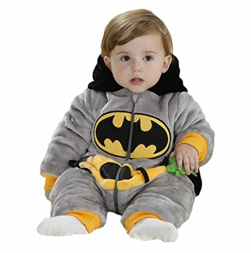 Aokaixin Infant Baby Toddler Hoodie Rompers Costumes Baby Suit (Height:26-28.7'', Batman)