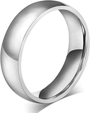 High Polished Sterling Silver 6MM Classic Wedding Band Ring