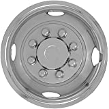 """Front 16"""" Wheel Simulator for 8 Lug 4 Hole for Dually Trucks, RV Trailer & Vans - Polished Stainless Steel , OEM Genuine Factory Replacement - Universal Fit Easy Snap On"""