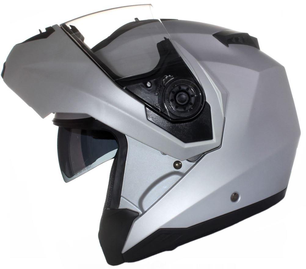 57-58cm Qtech Klapp Motorradhelm mit DOPPELVISIER//Sonnenblende M Gl/änzend wei/ß