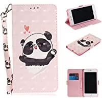 Gostyle Flip Wallet Case for iphone 7 Plus with Hand Strap, iphone 8 Plus PU Leather Case Love Heart Panda Pattern,Bookstyle with Card Slots Magnetic Closure Stand Cover