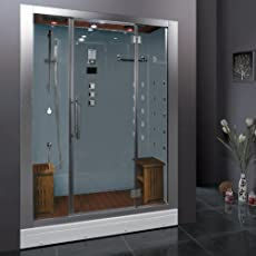 Shower while listening to music from the FM radio, infuse calming scents with the aromatherapy system and allow the 20 acupressure massage jets to create a therapeutic experience in this steam shower. This is a two person unit and comes with two remo...