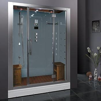 Ariel Platinum DZ972 1F8 W Steam Shower In White 59 X 32