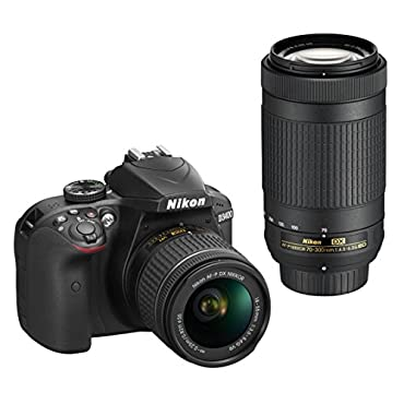Nikon D3400 24.2MP Digital SLR Camera w/ AF-P 18-55mm VR & 70-300mm Dual Zoom Lens Kit