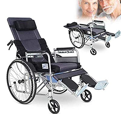 Ergonomic Medical Wheelchair -Lightweight Folding and Comfortable Wheelchair Backrest Arms and Lifting Legs to Rest - Load Bearing 200kg