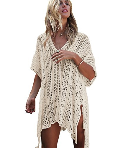 shermie Women's V-Neck Hollow Out Knitted Bikini Swimwear Cover Ups Plus Size Short Loose Beach Dresses Beige