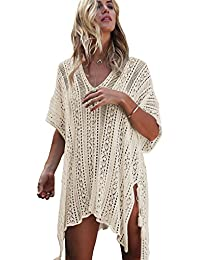 Women's V-Neck Hollow Out Swimwear Swimsuit Cover UPS Plus Size Short Loose Knitted Beach Dresses
