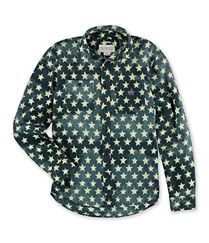(Ralph Lauren Mens Star-Print Workshirt Button Up Shirt starmu 2XL)