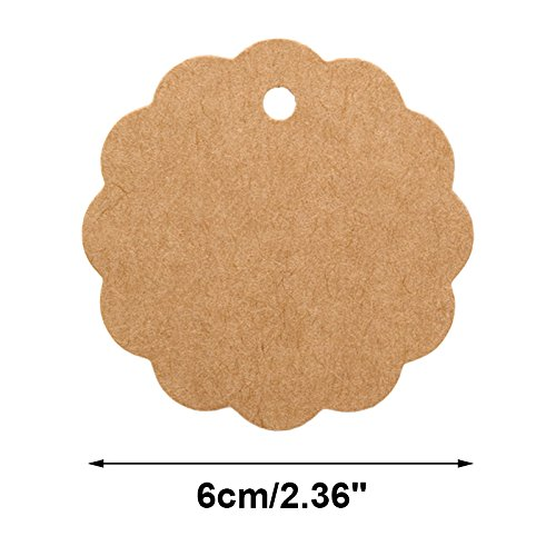 Wedding Decoration Gifts 100PCS White Craft Scalloped Paper Gift Tags with 100Feet Natural Jute Twines for Birthday Party Arts /& Crafts