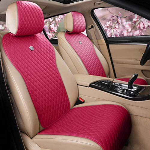 (Menifomory Leather Rose Pink Car Seat Covers 2/3 Covered Cute Auto Seat Cushion Covers 11PCS Car Seat Protector Universal Fit Car/Auto/Truck/SUV (A-Rose pink))