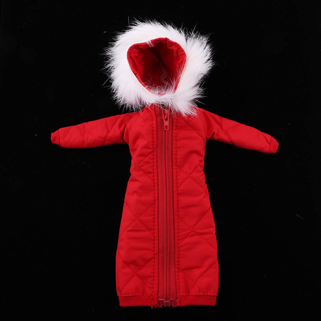 Baoblaze 1//6 Handmade Girl Doll Long Overcoat with Hat Winter Clothes for 12inch BJD Doll Decor Red