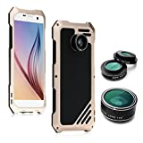 Samsung Galaxy S7 Camera Lens Kit, OXOQO 3 in 1 198° Fisheye Lens + 15X Macro Lens + Wide Angle Lens with Dustproof Shockproof Aluminum Case, Separate Screen Protector Included, 5.1 Inches(Gold)