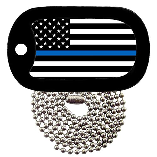 (Tag-Z Military Dog Tags - Thin Blue Line Police Flag Dog Tag Necklace)