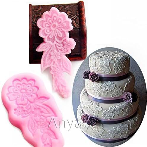 Anyana 2pcs Vintage Flower Lace Silicone Fondant Mould Cake Decorating tools Sugarcraft Icing chocolate Mold border stencil edge wedding birthday relief wilton flourish pastry