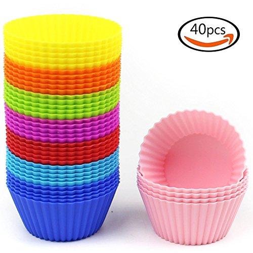 Goodlucky365 40 Stück Muffinformen Silikon Backform Silikon Cupcake Silikon Muffin Form in 8 Farben (40 runde Formen) - Antihaft, Hitzebeständig (bis zu 480°F) Backformen Nahrungsmittelgrad - 8 leuchtende Farben, Rund