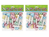 2 Pack 24 Unique Multicolor Diamond Squawker Party Blowers bundled by Maven Gifts