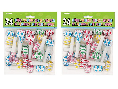 2 Pack 24 Unique Multicolor Diamond Squawker Party Blowers bundled by Maven Gifts by Unique Industries