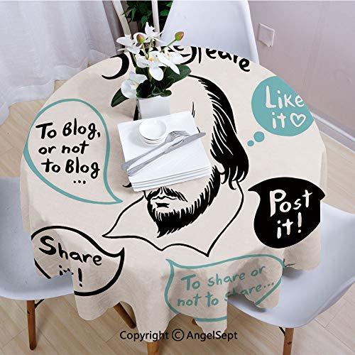 - AngelSept Polyester Round Tablecloth,Shakespeare Portrait with Speech Bubbles and Social Media Citation Illustration,55