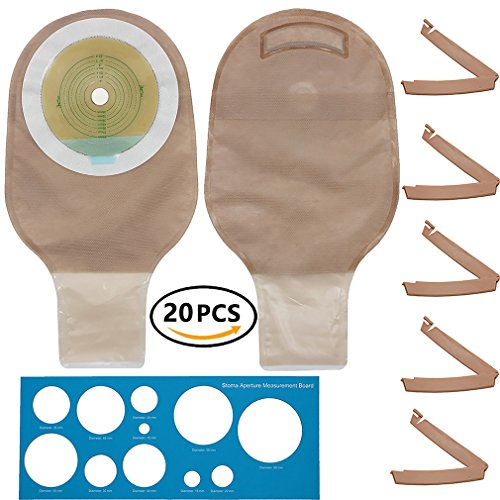 Bag Colostomy (Colostomy Bags - LotFancy 20 Drainable Ostomy Pouch, One-piece Ileostomy supply bags with Clamps, FDA Approved, Cut-to-Fit)