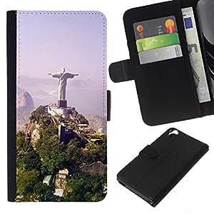 KLONGSHOP // Tirón de la caja Cartera de cuero con ranuras para tarjetas - Arquitectura Brasil Jesús Estatua - HTC Desire 820 //