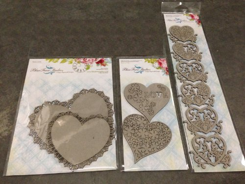 Blue Fern Studios Bundle - Chipboard with Style for Scrapbooking, Mixed-media, General Crafting and More: Lace Heart Border, Frilly Hearts, Floral Hearts ()
