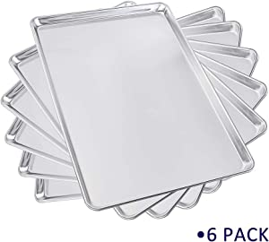 Sheet Pan Aluminum Bakeware Set 6 Pack 18'' x 26'' Commercial for Jelly Roll Baking Cookie Wire Reinforced Nontoxic Full Size (18''x26'')