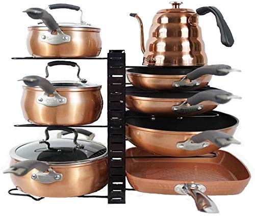 Pot and Pan Organizer Rack for Cabinet Home, Kitchen Storage, Pan Holder, Cabinet Pot Organizer, 8 Tier Adjustable Heights, Expandable Pot Organizer for Under Cabinet -