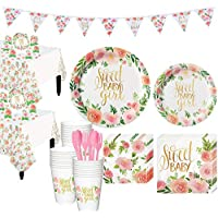 Party City Boho Girl Baby Shower Kit for 32 Guests, Includes 2 Table Covers, Table Decorating Kit and Banner