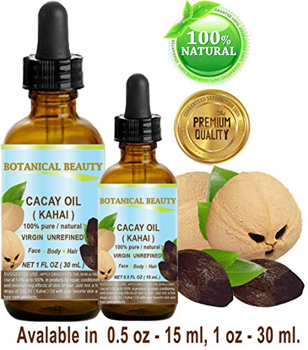 CACAY (Kahai) OIL 100% Pure Natural Virgin Unrefined WILD GROW Anti Aging Anti Wrinkle Face Oil nutrient rich in natural Retinol Vitamin A, E. 0.5 Fl.oz.- 15 ml by Botanical Beauty
