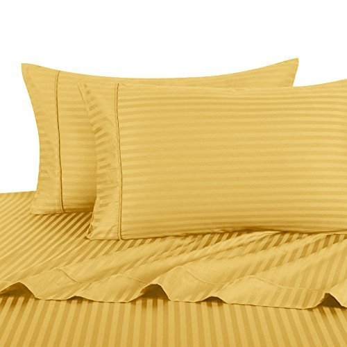 Ultra Soft & Exquisitely Smooth Genuine 100% Plush Cotton 800 TC Sheet Set by Pure Linens, Lavish Sateen Stripes, 4 Piece Queen Size Deep Pocket Sheet Set, Gold