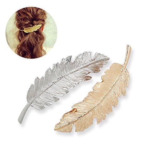 Tinksky Blatt-förmigen Hair Clip Pin Claw Headwears Haar Zubehör Pack 2 (Golden + Silber)