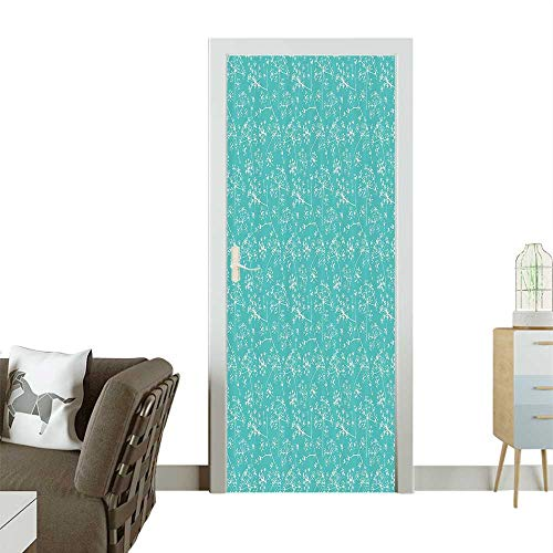 Homesonne Decorative Door Decal elicate Umbrellas Parsley Dill Blossom Wildflower Summertime Plants Stick The Picture on The doorW36 x H79 INCH (Umbrella Ivy)