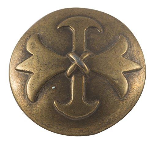 Musketeer (Fleur Di Lis) Button, Antique Brass 7/8