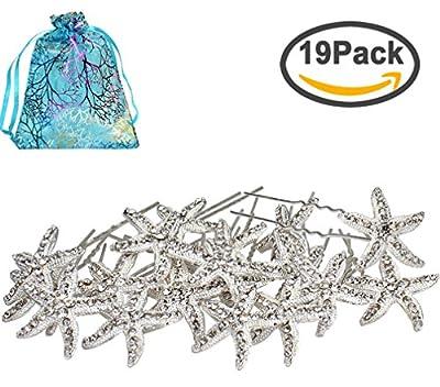 Jaciya 18 Pack Bride Crystal Rhinestone Starfish Hair Pin Hair Jewelry Hair Accessories Women Headwear Headdress for Beach Themed Wedding,Party, Daily Use