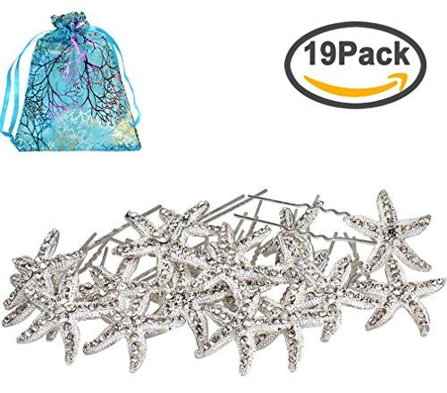 Jaciya 18 Pack Bride Crystal Rhinestone Starfish Hair Pin Hair Jewelry Hair Accessories Women Headwear Headdress for Beach Themed Wedding,Party, Daily (Beach Party Accessories)