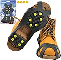 Sfee Ice Cleats Snow Grips Overshoes Boots, Anti-Slip Silicone Portable Walk Traction Cleats Stainless Steel Spikes for...