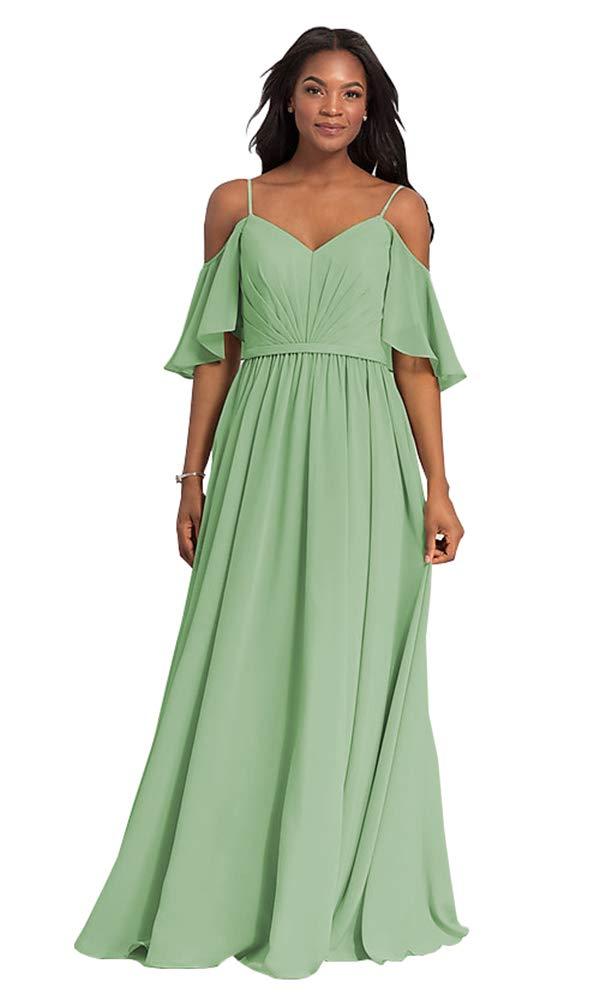 Plus Size Chiffon Long Bridesmaid Dresses Off The Shoulder A Line Wedding  Guest Dress Size 20W Sage