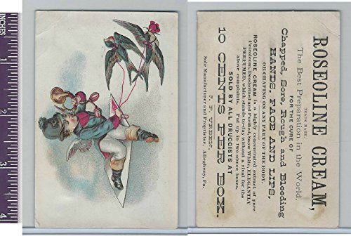 Victorian Card, 1890's, Roseoline Cream, Child Pulled By Birds ()